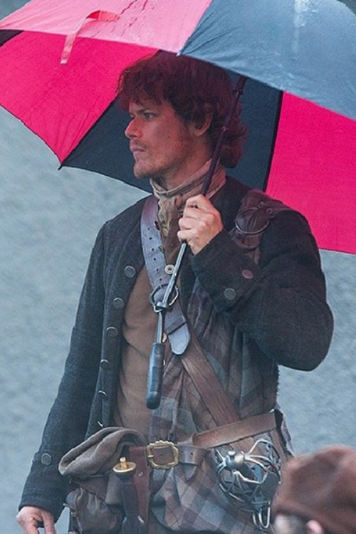 Highlander in the Rain, Sam Heugan on set, Outlander