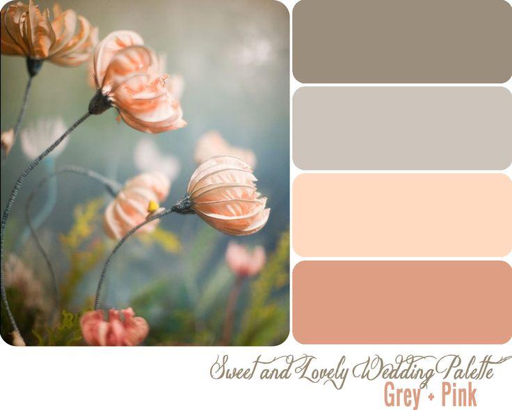 wedding color palette: Colors Pallets, Colour, Color Palettes, Idea, Bedrooms Colors, Colors Schemes, Pink Grey, Peaches, Wedding Colors Palettes