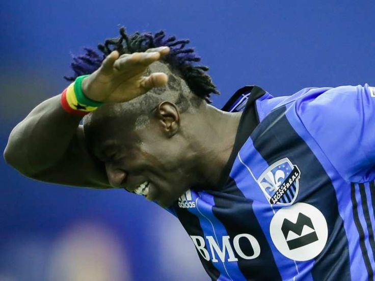 Montreal Impact forward Dominic Oduro celebrates after scoring against the New York Red Bulls during the second half of the Impact's home opening match at the Olympic Stadium in Montreal on Saturday, March 12, 2016. (Dario Ayala / Montreal Gazette)