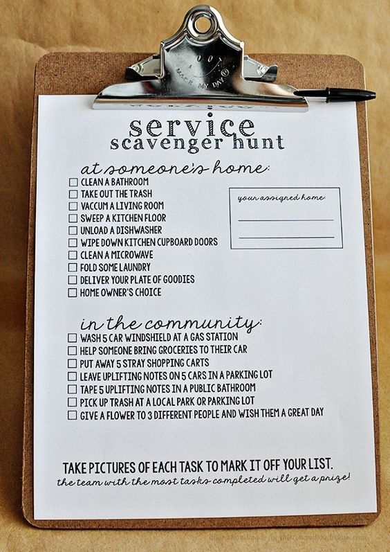 Random acts of kindness scavenger hunt. Such a fun idea for kids' groups, and includes free printables.
