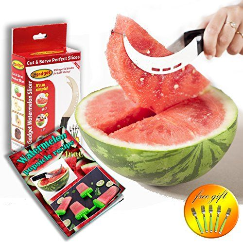 IDo Gadget  Watermelon Slicer Corer  Server With 5 Free Dessert Forks  Watermelon Popsicle Recipe Stainless Steel Melon Cutter Knife Safety Blades Robust Protective Handle Kids Friendly -- Want to know more, click on the image. (Note:Amazon affiliate link)