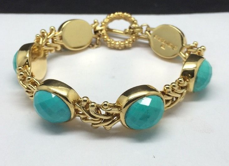 US $4,899.00   Stephen Dweck 18K Yellow Gold Faceted Turquoise Toggle Bracelet 7.5"
