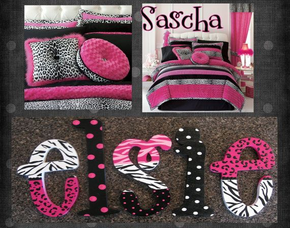 More Black And White With Pink. Zebra Cheetah Polka Dot Print Bedding Set.  Love