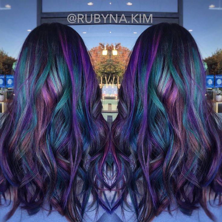 Oil slick inspired hair color from @bescene by @RUBYNA.KIM
