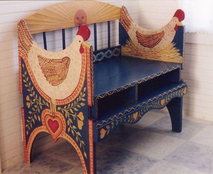 folkart painted chicken bench