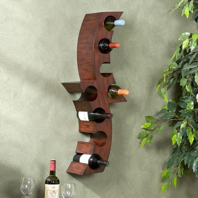 Upton home wall mounted curved wine storage rack - Wine rack small space collection ...