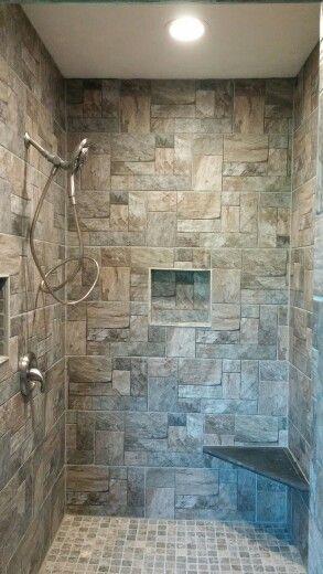 Rustic walk-in stone shower