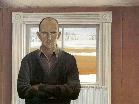 "Christopher Pratt, Self Portrait, 1961. Oil on canvas, 30"" x 40"" Collection Owens Art Gallery, Mount Allison University."
