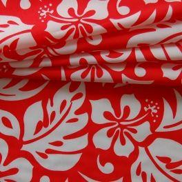 Polyamide stof met witte bloemen op rode achtergrond