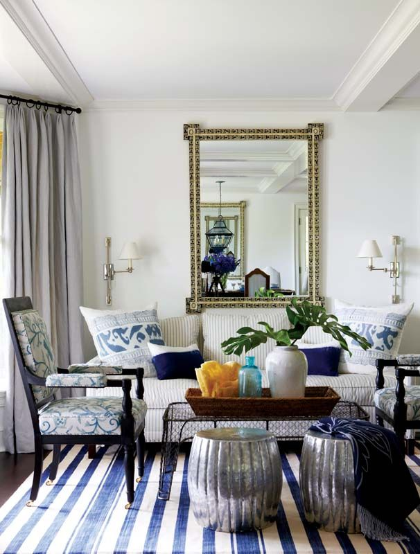 Perfect Madeline Weinrib Blue Vice Cotton Carpet, Interior Design: Anne Miller,  Photo: Michael