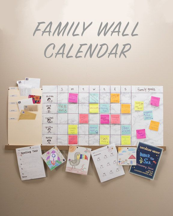 Weekly Family Wall Calendar - I would use plastic folders and let each family member pick their color. Would need a lot of Post-Its.