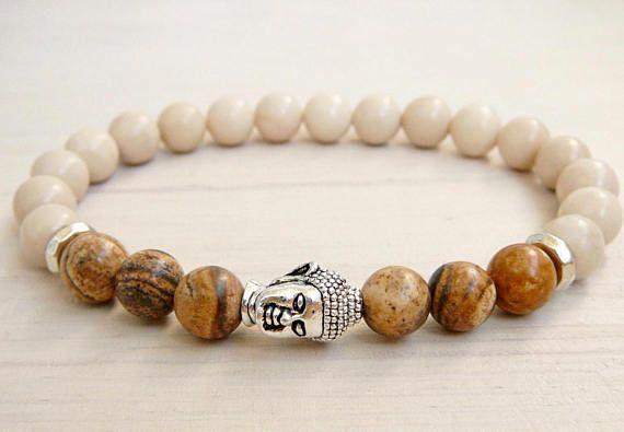 Ivory Agate and Jasper Buddha Bead Elastic Bracelet Men