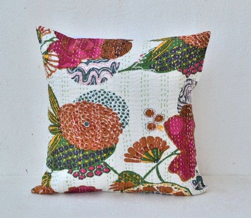 Decorative flower throw pillow in beautiful white cotton fabric with floral print. This handmade throw pillow cover is made of soft cotton on both sides.  It has nice Kantha stitching.  The reverse is