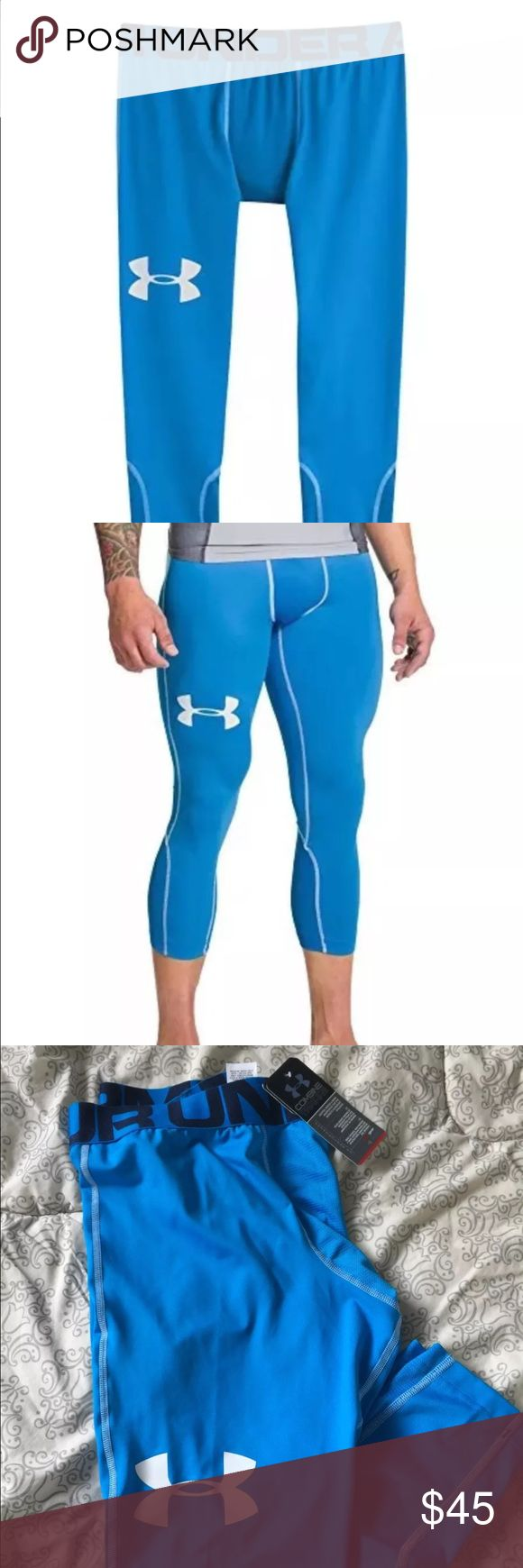 Under Armour Heat Gear Compression Training Tights Authentic, new with tags. Under Armour Men's Heat Gear Compression Training Tights 3/4 Length True Fit Compression Elastic blend for comfort and flexibility.  Moisture Transport System wicks sweat & dries fast by pulling sweat to the surface and speeding evaporation which keeps your body cool dry and light. Including Anti-odor technology prevents the growth of odor causing microbes, engineered elastic waistband with ARMOUR wordmark. Under…