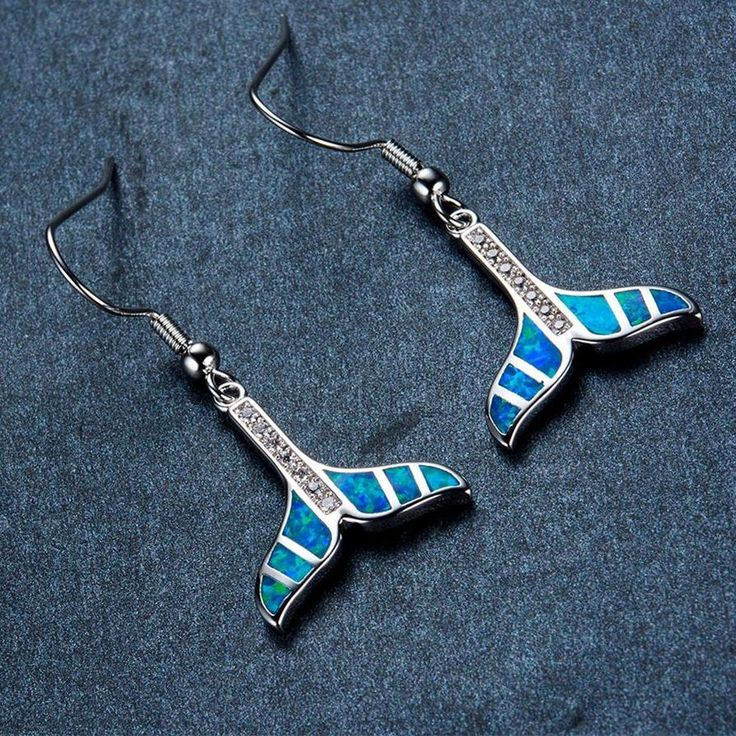 Whale Tail Hanging Earrings Blue Simulated Opal .925 Sterling Silver