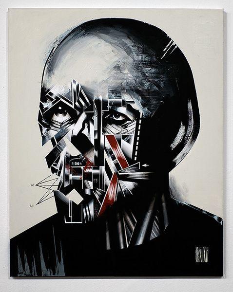 """Anno Domini presents Bohdan Burenko HEADS    Bohdan Burenko  HEAD No. 2   acrylic, canvas, 40"""" x 30"""", 2016    Please inquire for availability & price: cherri@galleryAD.com"""