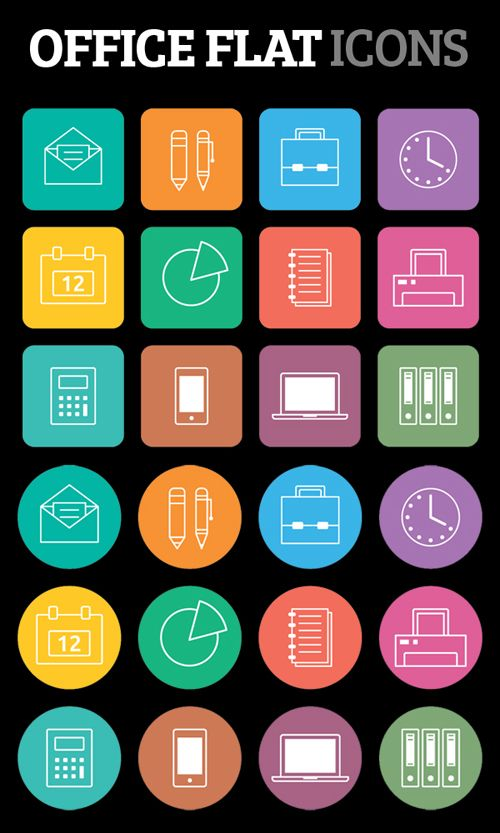 High Quality Free Flat Icons for Office App #flaticons #iconsets #freeicons #infographics