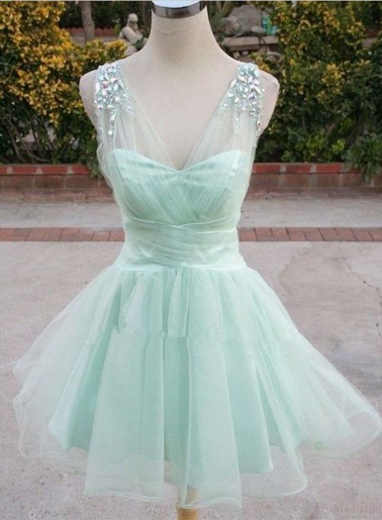 Mint Green Homecoming Dresses, Organza Homecoming Dresses, Rhinestone