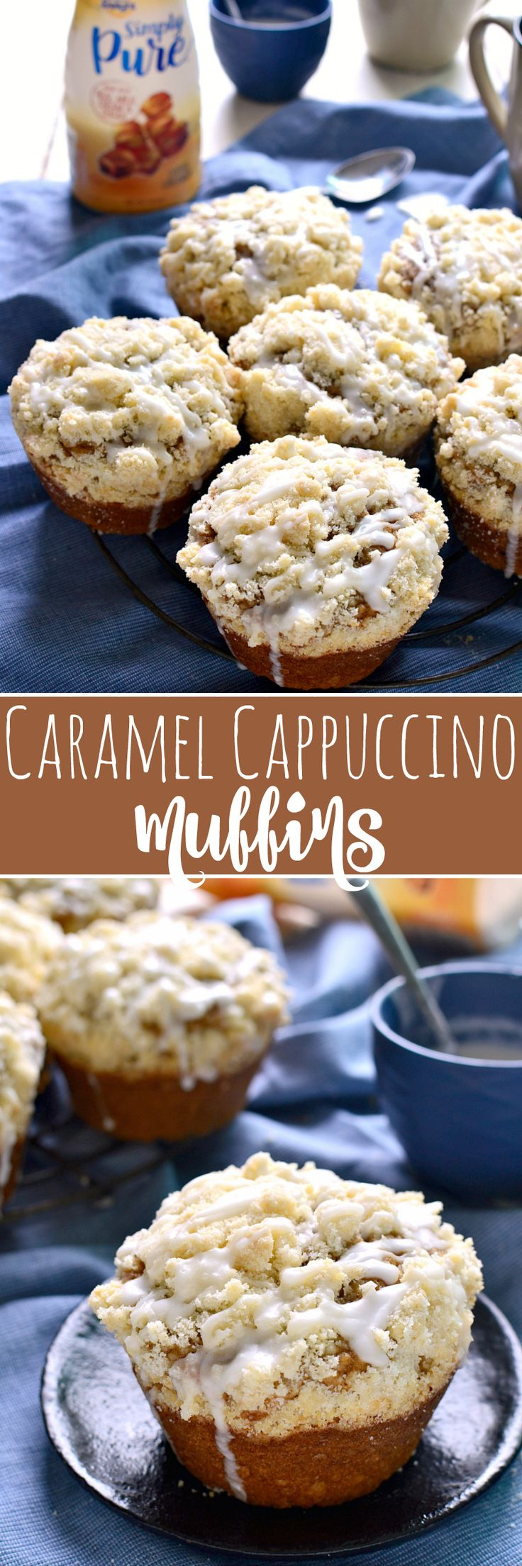 These Caramel Cappuccino Muffins are packed with the delicious flavors of caramel and espresso and topped with a generous layer of streusel and a drizzle of sweet caramel icing. Perfect for special occasions or any day! #SimplyPureCreamer #IDelight #ad