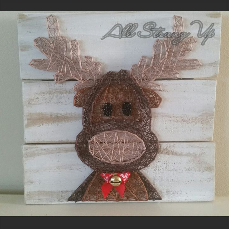 Thanks for looking. Rudolph reindeer christmas String Art, Made by hand with…