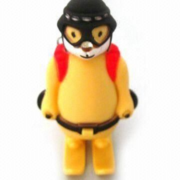 Keychain with LED and Skiing Bear Sound, Available in Yellow and Black