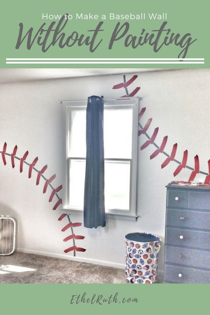 DIY, Home Decor - bedroom, boy's bedroom, boy's bedroom ideas, baseball wall, baseball room, baseball bedroom, baseball decor