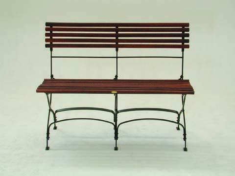 Park Bench without Arms with Natural Timber Slats and Rust Finish Frame - Inside Out Home Boutique