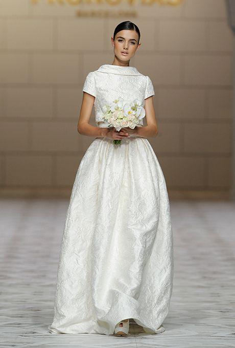 An #AudreyHepburn-inspired @pronovias wedding dress | Brides.com