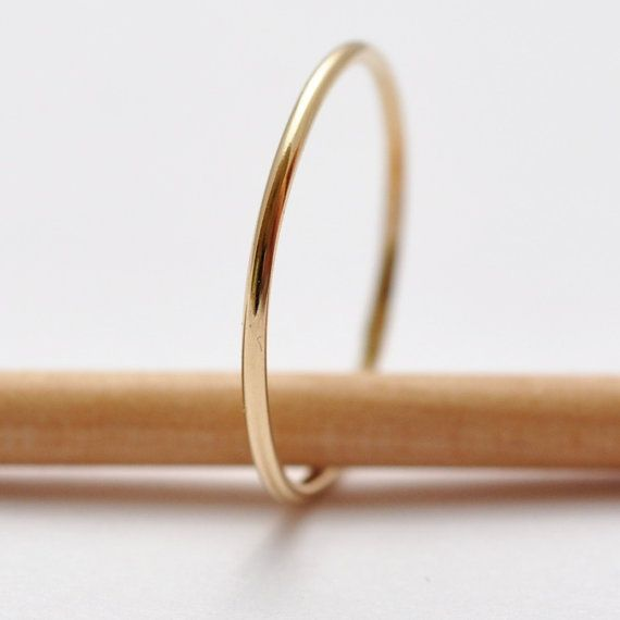Thin Gold Wedding Band 14K Rings Tiny Thin Delicate Dainty Slim Skinny Simple Cheap Affordable Inexpensive Womens Yellow