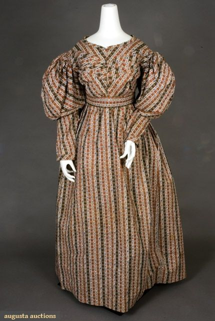 Augusta Auctions, November, 2007 -Tasha Tudor Historic Costume Collection, Lot 26: Striped Floral Cotton Dress, 1825-1830