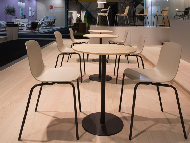 Edsbyn at Stockholm Furniture Fair 2018.  Press Chair, Design Andreas Engesvik  Cone Table with a Solid Table Top, Design Jens Fager  Solid wood, gediget trä, bordsskiva i trä, cafébord, café table