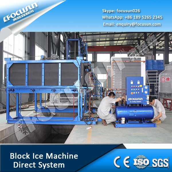 Focusun direct system block ice machine adopts edge-leading refrigeration industry technology. After direct heat exchange between refrigerant and water, in 5 to 8 hours, water is frozen out into ice. By that time, PLC controls the machine automatically into ice doffing process.so the ice can be directly consumed. so it also saves labor work and electricity consumption Sales. ---------------------------------------------- sales@focusun.com Marketing: marketing@focusun.com chinaicemachine.com