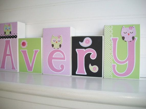 Letter Blocks for Children.Name Blocks . Pink and Lime. Paisley and Owls by RessieLillian.Etsy.com