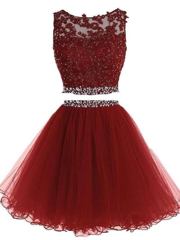 6d76bb40e985f Burgundy Two Piece Short Beading Homecoming Dress , Short Prom Dress,  PDS0053