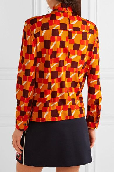 Prada - Printed Crepe Top - Orange - IT46