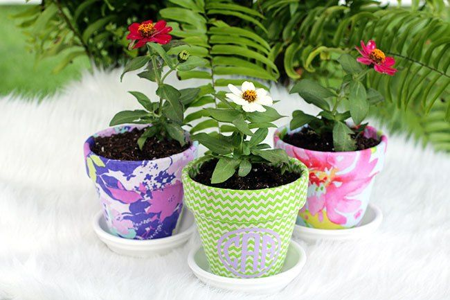 How to Turn Terra Cotta Pots Gorgeous with Fabric