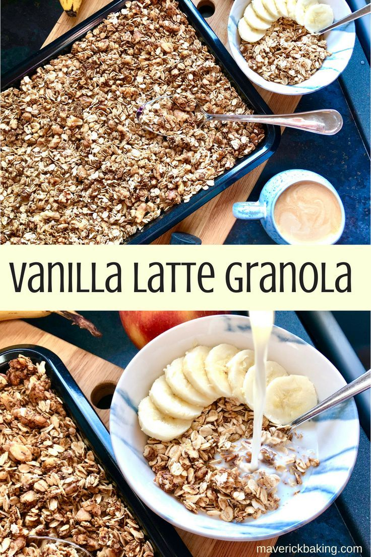 Vanilla Latte Granola; sweet crunchy clusters of heart-healthy oats, nuts and seeds, flavoured with sweet vanilla and rich coffee. Perfect for breakfast, dessert toppings or snacks!