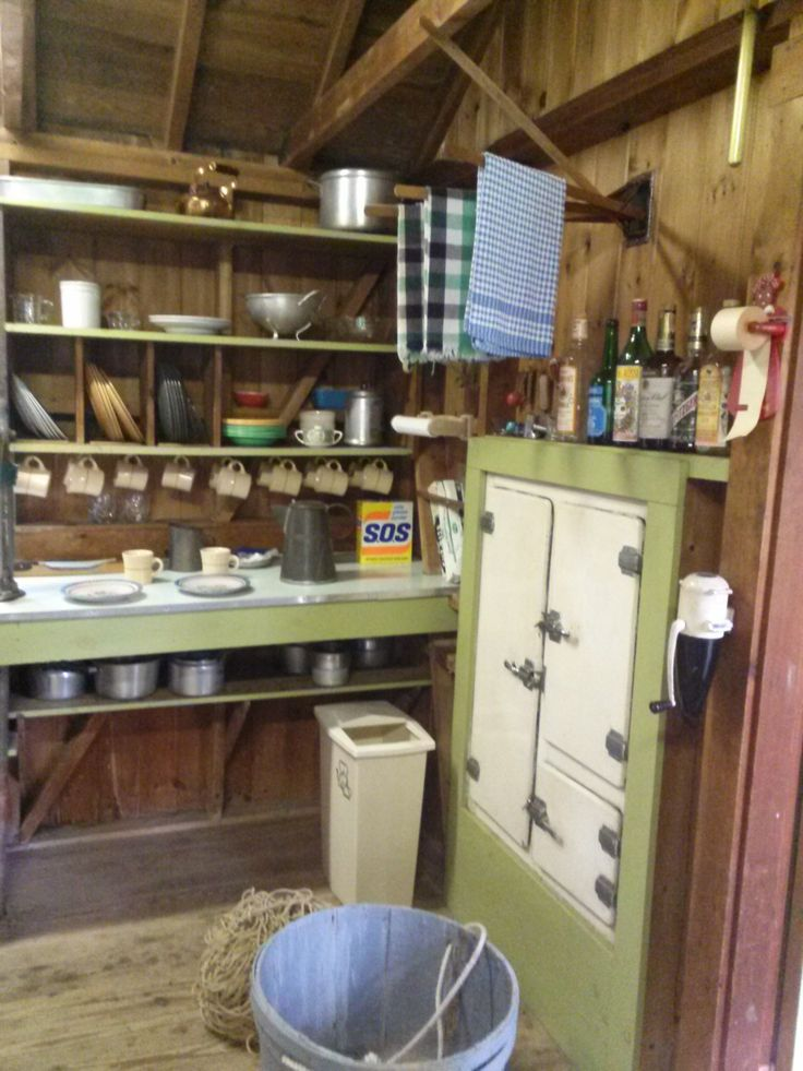 Photo taken 2014: Kitchen in the Nickerson North Beach Camp showing the shelves, original dishes and the ice box. #nickerson, #northbeachcamp, #northbeach, #camp, #beachcamp, #atwoodhouse, #chathamhistoricalsociety, #chatham, #capecod