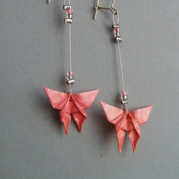 Pink Butterfly Origami earrings by ClairesOrigami on Etsy, $22.00