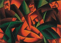 Bortnyik Sandor. (1893-1976) Hungarian post- impressionist. This work shows the influence of cubism, the fauves and german expressionism