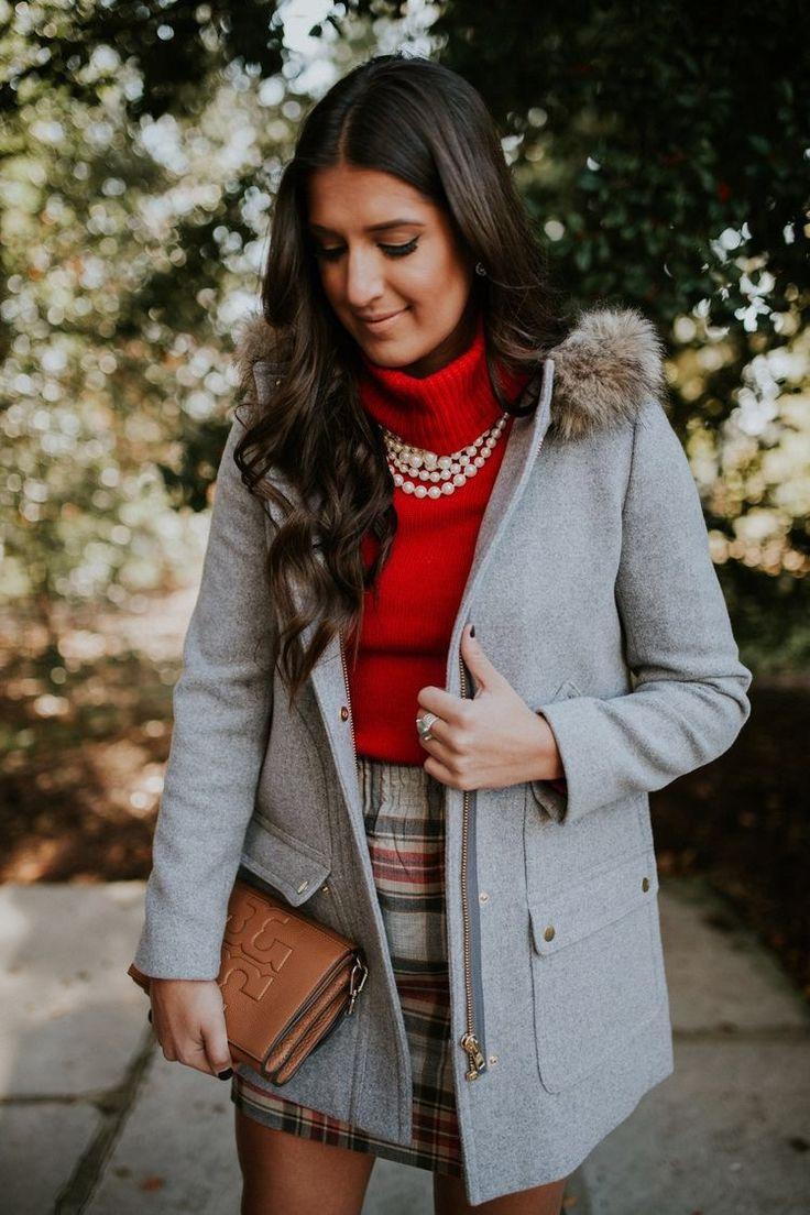 Look picture perfect in a turtle neck and plaid skirt. #winter #fashion