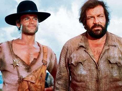 cena de Trinity o faroeste fazia sucesso enorme nos anos 70 e 80 na tv, (Terence Hill e Bud Spencer)