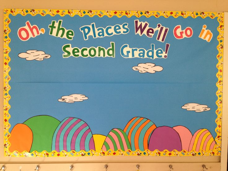 """""""Oh the places you'll go!"""" Dr. Seuss themed welcome bulletin board for the beginning of school."""