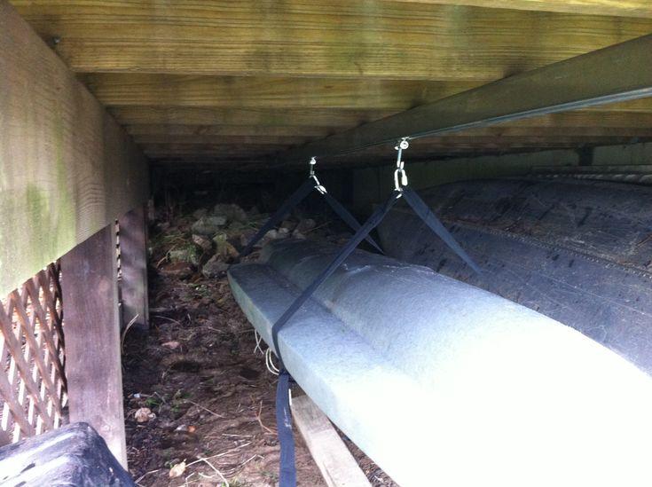 storage under deck ideas | Under deck Kayak storage system