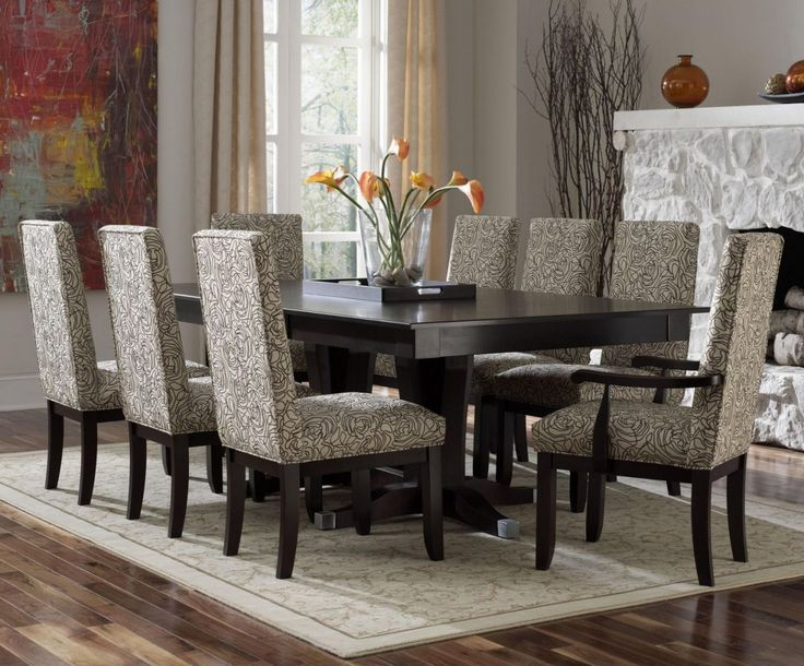 Casual Dining Room With Rectangular Dark Wood Dining Room Table Set, Wooden  Pedestal Features Chairs Gray Microfiber Seats Backs, And White Wooden  Window ... Part 33