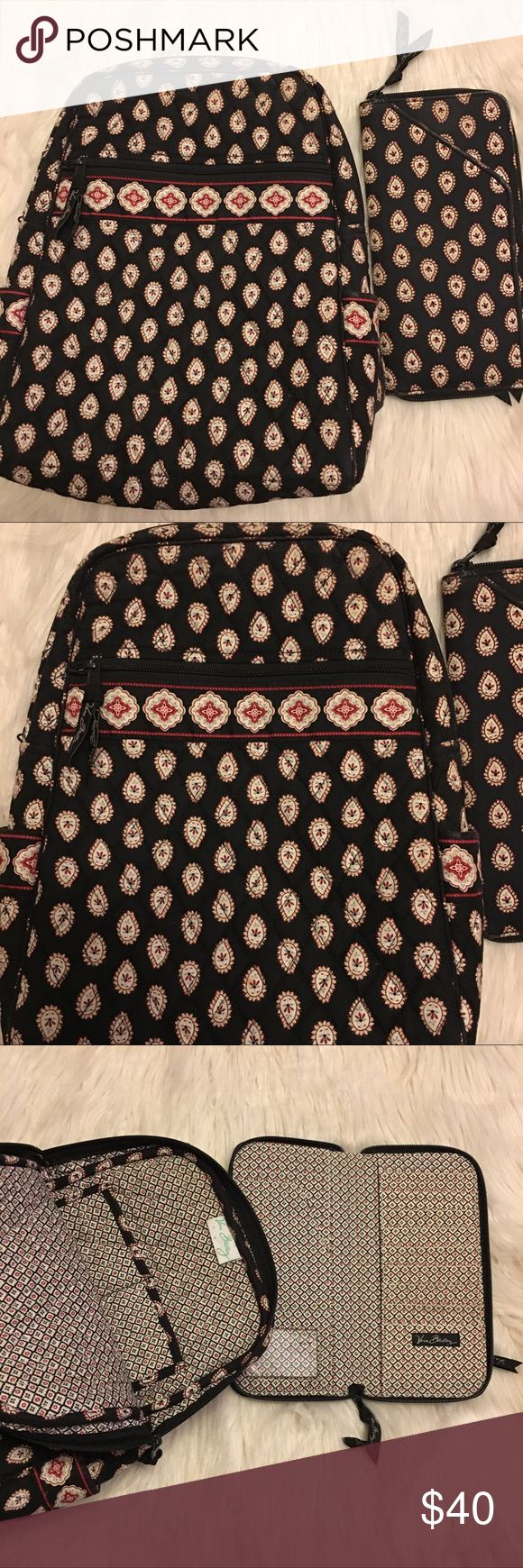 """Vera Bradley Classic Black Small Backpack & Wallet Vera Bradley """"Classic Black"""" Pattern (retired 01/2008), Small backpack and wallet set, good condition with some wear on the corners of the bag and wallet, dimensions: 9"""" wide x 13"""" high x 3.5"""" width....wallet 9.5""""x5"""" Vera Bradley Bags Backpacks"""