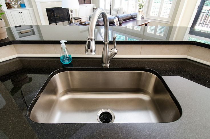 kitchen blue pearl granite black sink faucet pull down - Google Search