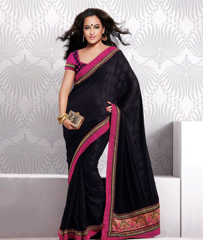 If you want to become a center of attraction then grab these exclusive Sonakshi Sinha's Designer Sarees Collection Item Code : T-325-1925 CATEGORY: Sonakshi Sinha Black Pink saree with unstiched blouse COLOUR: Black Pink and multi MATERIAL: Chiffon Offer Price:- 3999/ only