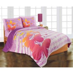 full size bedding for girls | Butterfly 3-piece Full/ Queen-size Microfiber Comforter Set ...