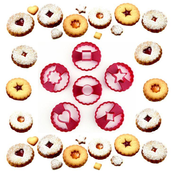 Multifonctionnel Cookie Cutter Décoration De Gâteau Fondant Cutters Outil Linzer Cookie Cutters Set de 6